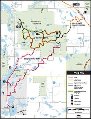 Map of Moose River and Emily Outing Off Highway Vehicle Trails