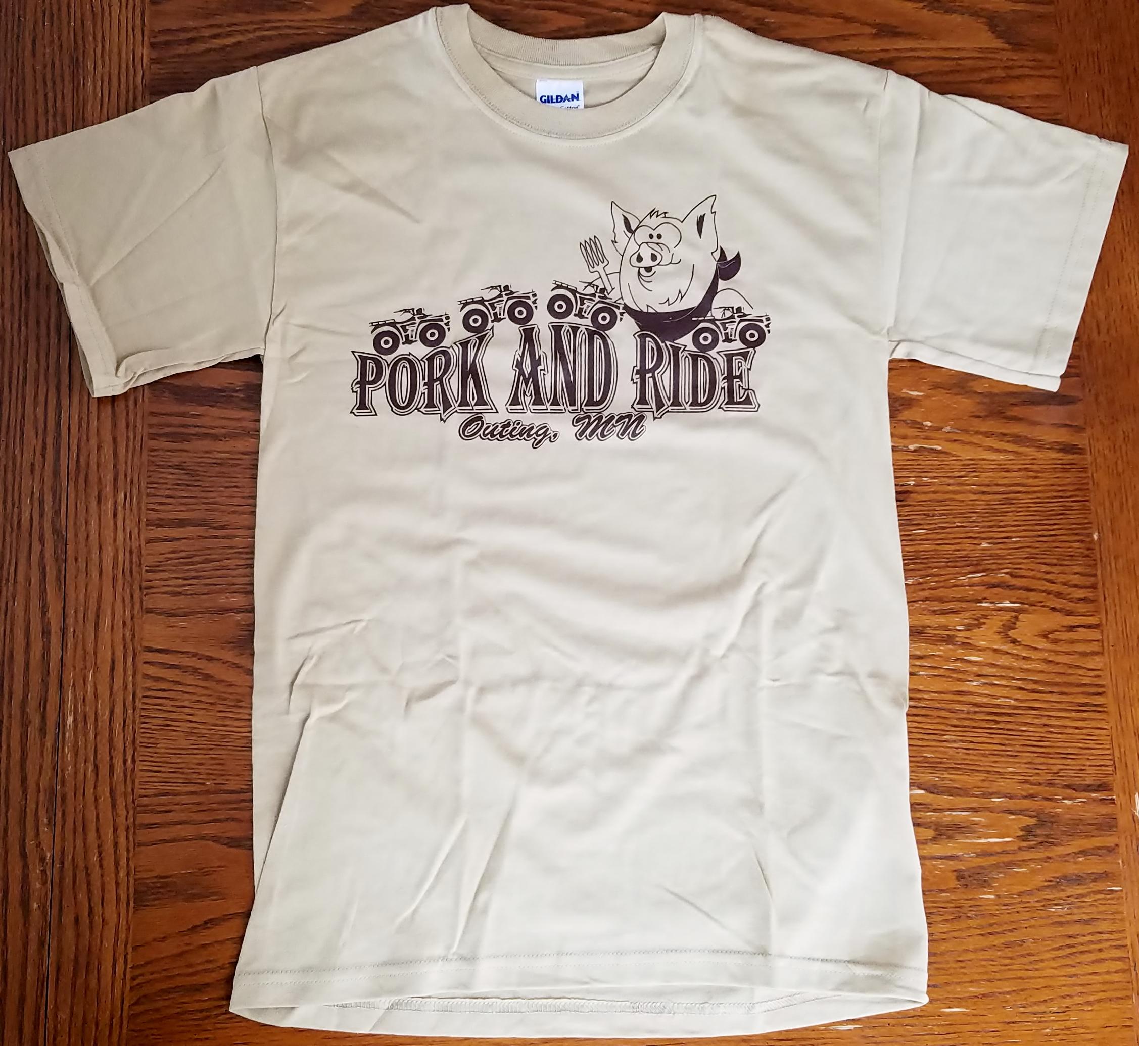 Pork-N-Ride Short Sleeve T-Shirts - Tan