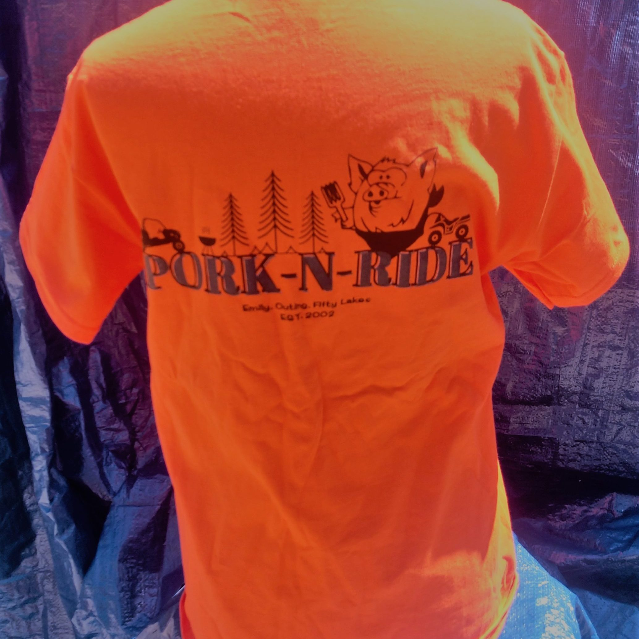 Pork N Ride SHort Sleeve T-Shirt - Safety Orange